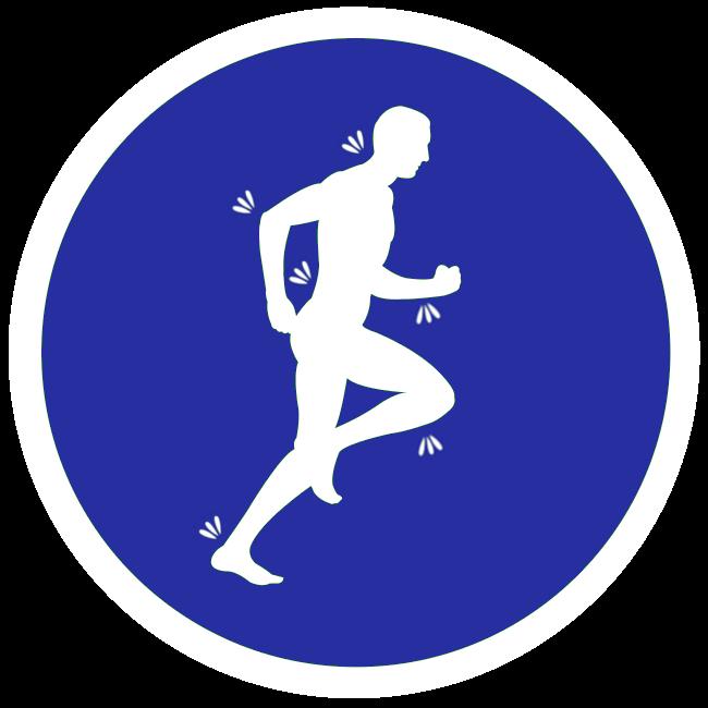 Springande man med smärtområden markerade